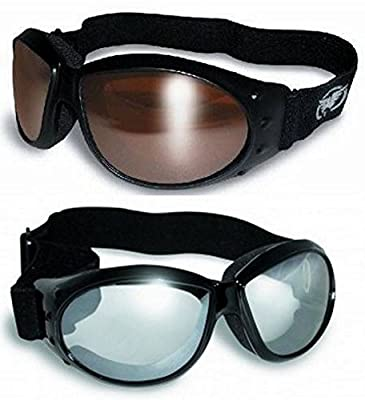 (2 Goggles) Motorcycle ATV Riding Clear Mirror and Driving Mirror Glasses Sunglasses