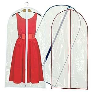 Hangerworld - Lot de 12 housses de protection pour vêtements. Transparentes avec garnitures dans de multiples couleurs. 152x 60cm.