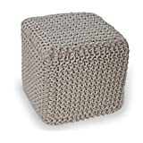 Off White Knitted Cube Footstool - 100% Cotton