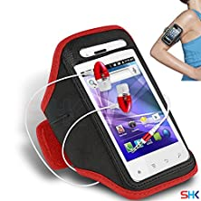 buy Spice Mi-349 Smart Flo Edge Red + Earphone Adjustable Armband Sport Gym Bike Cycle Running Jogging Sports Case Cover Holder Pouch (Aa) With Premium Quality In Ear Buds Stereo Hands Free Headphones Headset With Built In Microphone Mic And On-Off By Shukan®