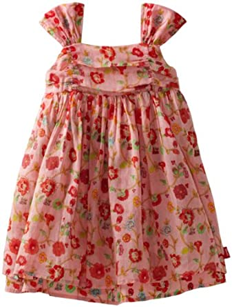 Oilily Girls 2-6x Dees Organdy Print Dress, Pink Ivy, 3T/98