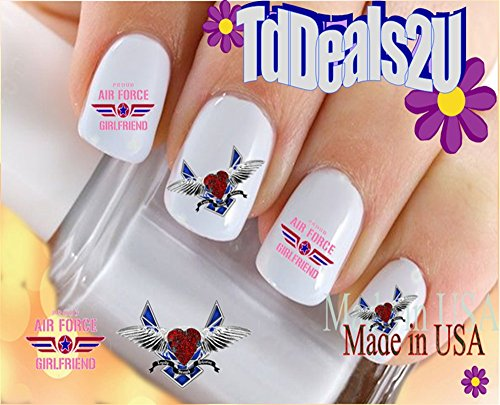 Military - Air Force Girl Friend Set 1 - WaterSlide Nail Art Decals - Highest Quality! Made in USA (Air Force Top Coat compare prices)
