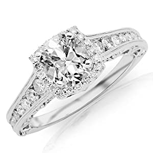 1.45 Carat Designer Halo Style Channel Set Round Brilliant Diamond Engagement Ring Milgrain Cushion Center (I , VS2)