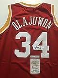 Autographed/Signed Hakeem Olajuwon Houston Rockets Red Basketball Jersey JSA COA