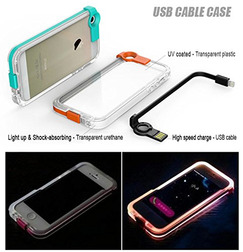 Feceir® Flashing LED Case with High Speed USB Charger Cable, Creative LED Light up Incoming Call Flash Cover for iPhone 6 Plus /6S Plus (5.5'') (Rose)