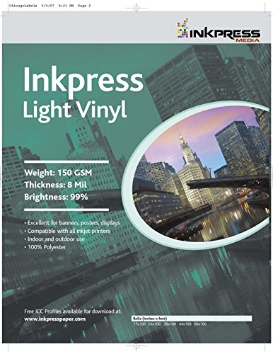 INKPRESS MEDIA LV24100,150GSM,8MIL, 99 Percent Bright, Photo Paper (#LV24100) (99 Cent Papers compare prices)