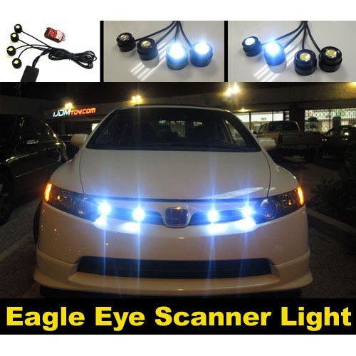 Koolertron New Eagle Eye Led Knight Night Rider Scanner Lighting Drl With Remote 4 Pcs
