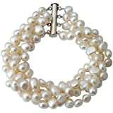 Cultured Freshwater White Baroque Pearl four strand chunky Bracelet (twist to desired length) with 925 silver clasp, presented in a pretty satin silk pouch with a gift card