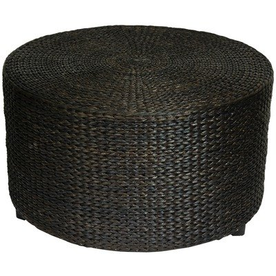 Oriental Furniture Rustic Coffee Table Foot Stool, 30-Inch Woven Water Hyacinth Rattan Style Round Ottoman Coffee Table Platform, Black