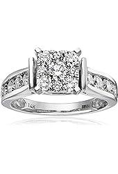 14k White Gold Unity Diamond Engagement Ring (1 1/4 cttw, H-I Color, I1-I2 Clarity), Size 7