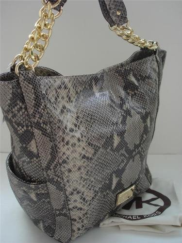 Michael Kors Delancy Bag Tote Large Dark Sand Python Embossed Leather