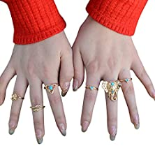 buy Misscat Vintage Boho Tribal Ethnic Turquoise Ring Hippie Gothic Elephant Snake Set 6Pcs (Gold)