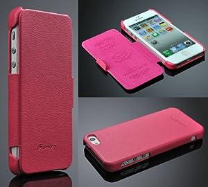 Iphone 5 / 5s Hülle, ***ECHT LEDER - HANDGEFERTIGT*** - Zubehör Case Etui IPhone Flip Case Schutzhülle - Farben SCHWARZ, BRAUN, WEISS, ROT, PINK - (pink)