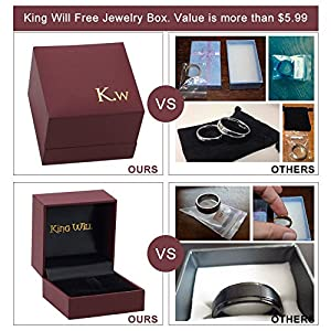 King Will 8mm Black Tungsten Carbide Ring Wedding Engagement Band Domed Bright Polished Finish(12) from King Will