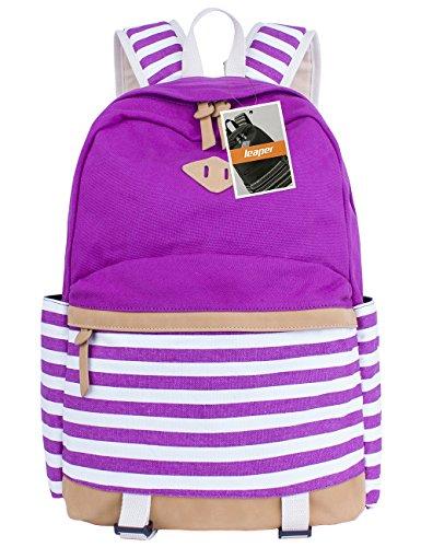 leaper-cute-navy-style-school-backpack-striped-canvas-bookbag-casual-travel-rucksack-purple