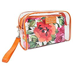 Jacki Design Tropicana 2 Pc Cosmetic Bag Set w/ Wristlet,Tropicana,Orange/White,AHL14109OW