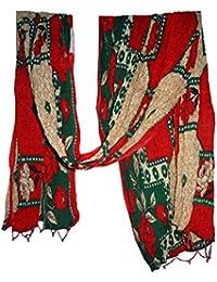 Bigfashionshop Womens Dupatta Floral Print Stole Red Chuni