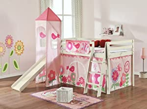 Cabin Bed Mid Sleeper Whitewash Floral with Tower & Tent 6970WW-FLORAL