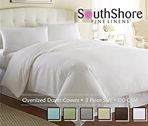 southshore fine linens 3 piece oversized duvet cover set bright white king. Black Bedroom Furniture Sets. Home Design Ideas