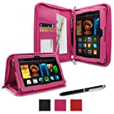 """rooCASE Amazon All New Kindle Fire HDX 7 Case - (2014 Current Generation) Executive Portfolio Leather 7-Inch 7"""" Cover with Landscape, Portrait, Typing Stand, Hand Strap - MAGENTA (With Auto Wake / Sleep Cover)"""