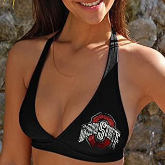 NCAA Ohio State Buckeyes Ladies Black Team Bikini Top by Football+Fanatics