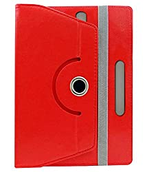 Corcepts ROTATING New latest & Noteworthy 360° LEATHER FLIP CASE FOR iBall Slide 3G 6095 Q700 (Red)