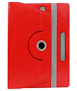 Corcepts ROTATING 360° LEATHER FLIP CASE FOR iBall Slide 3G 7334Q-10 Calling Tablet (Red)