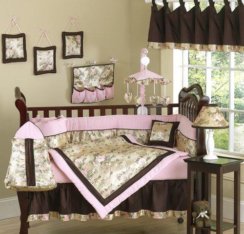 JoJo Designs 9-Piece Baby Designer Crib Bedding Set - Abby Rose Pink and Brown