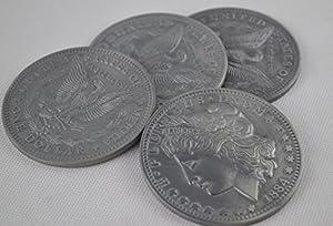 """Antique 3"""" Jumbo Morgan coins (1884) - Magic Trick Coin Magic Accessory 4pcs/pack"""