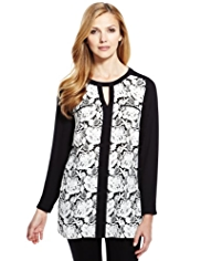 M&S Collection Front Floral Lace Print Tunic