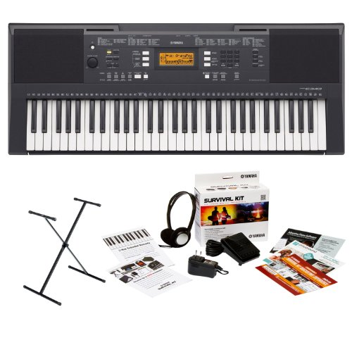 Yamaha Psre343 61 Touch Sensitive Keys Portable Keyboard Bundle With X Style Keyboard Stand And Yamaha Survival Kit (Includes Power Adapter And 2 Year Extended Warranty)