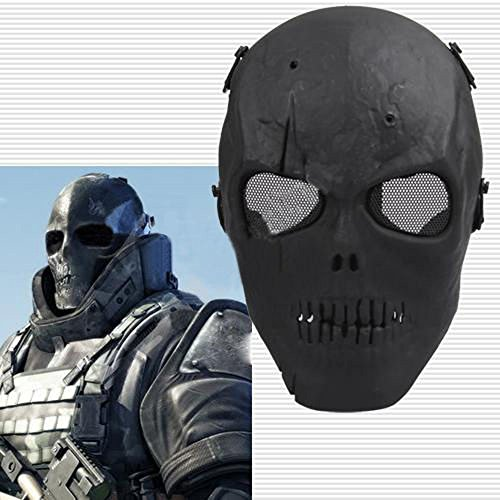 Black Skull Skeleton Full Face Mask Tactical Paintball Airso