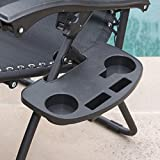 Bellezza© 2-Pack Zero Gravity Chairs Patio Lounge +Cup Holder/Utility Tray (Black)