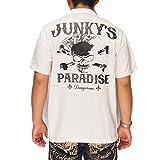 UNKY'S PARADISE[ジャンキーズパラダイス] トランプスカル刺繍 ボウリングシャツ/半袖シャツ/JBS-602--ホワイト--M