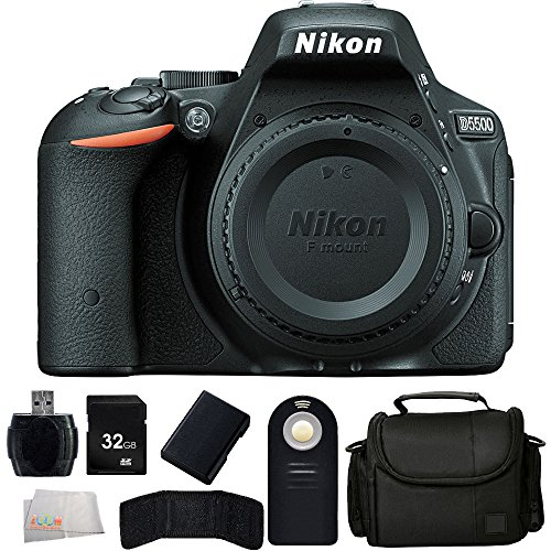 Nikon-D5500-DX-format-Digital-SLR-Body-Black-Extended-Life-Replacement-Battery-32GB-Memory-Card-Reader-Carrying-Case-Wireless-Remote-Memory-Card-Wallet-Microfiber-Cleaning-Cloth