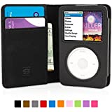 Snugg iPod Classic Flip Case & Lifetime Guarantee (Black Leather) for Apple iPod Classic