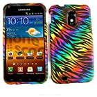 CELL PHONE CASE COVER FOR SAMSUNG EPIC 4G TOUCH GALAXY S II D710 RUBBERIZED RAINBOW ZEBRA ON BLACK