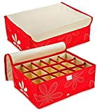 6 Compartment Cell Foldable Green Storage Box type Non-Smell Drawer Organizer Closet Storage for Socks Bra Tie Scarfs