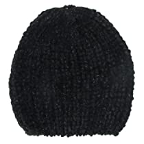 Capelli New York Flat Knit Solid Sparkle Chenille Skull Cap Black