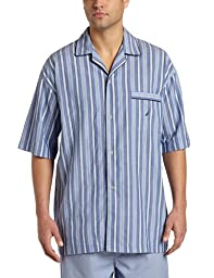 Nautica Men's Sultan Stripe Woven Pajama Top, Cornflower, Large
