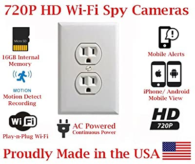 SecureGuard Elite 720p HD WiFi Wireless IP AC Power Receptacle Outlet Hidden Security Nanny Cam Spy Camera with 16GB Memory (White) from AES Spy Cameras