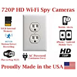 SecureGuard Elite 720p HD WiFi Wireless IP AC Power Receptacle Outlet Hidden Security Nanny Cam Spy Camera with 16GB Memory (White) (Color: white)