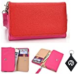 Pink | Red Wristlet Carrying Wallet Cover Cell Phone Case Fits Videocon A10 + NuVur ™ Keychain (ESAMMTMR)