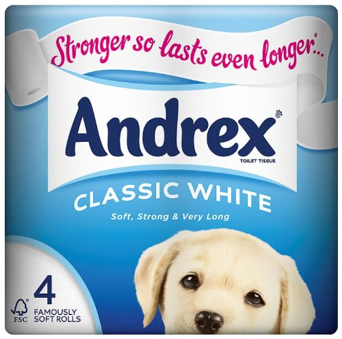 Andrex Puppies on a Roll 4 Roll Toilet Tissue 210 Sheets Classic white (Pack of 10)