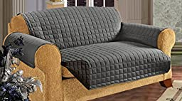 Elegance Linen Quilted Slip Cover Water-Absorbent Furniture Protector for Sofa, Gray