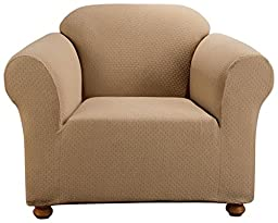 Sure Fit Simple Stretch Subway 1-Piece - Chair Slipcover  - Taupe (SF44259)