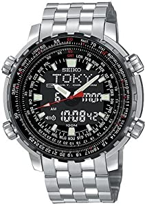 Seiko Men's SNJ017 Analog Digital World Time Flight Chronograph Watch