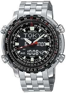 Seiko Men's SNJ017 Analog Digital World Time Flight Chronograph Watch