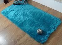Teal blue aqua faux fur oblong sheepskin rug 70 x 140 cm