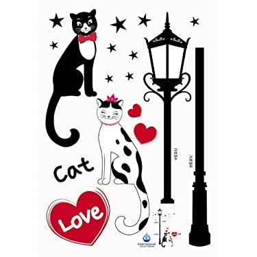 He & She Romantic Cat Couple in Love - Removable Home Decoration Wall Sticker Decal